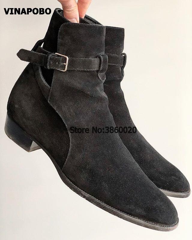 Vinapobo 지적 발가락 슬림 남자 스웨이드 가죽 부츠 정품 가죽 발목 스트랩 버클 웨지 첼시 남자 데님 카우보이 부츠-에서겨울 부츠부터 신발 의  그룹 1