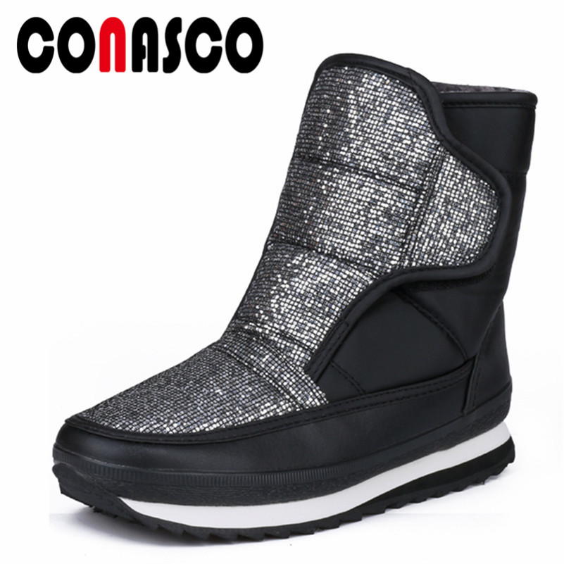 936d6562736 CONASCO New Women s Winter Shoes Quality Brand Platforms Glitters Casul Shoes  Woman Mid Calf Boots Ladies Plush Warm Snow Boots-in Mid-Calf Boots from  Shoes ...