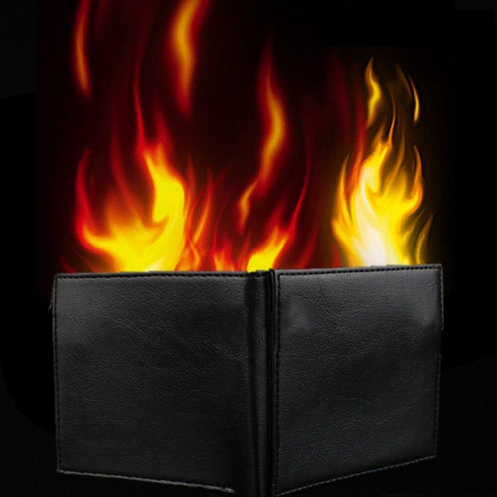 Novidade truque mágico chama fogo carteira de couro mágico palco rua misterioso mostrar armazenamento dinheiro cartão diversão ilusão