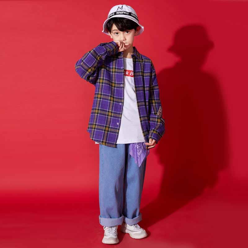 Hip Hop Dance Costume Boys Children Jazz Costumes Street Dance Costume Performance Kids Stage Show Dress Outfit  DQS1176