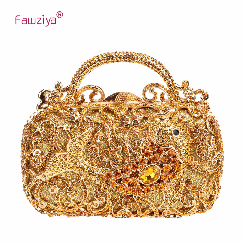 Fawziya Fish Metal Handle Clutch Bag For Women Purses And Handbags