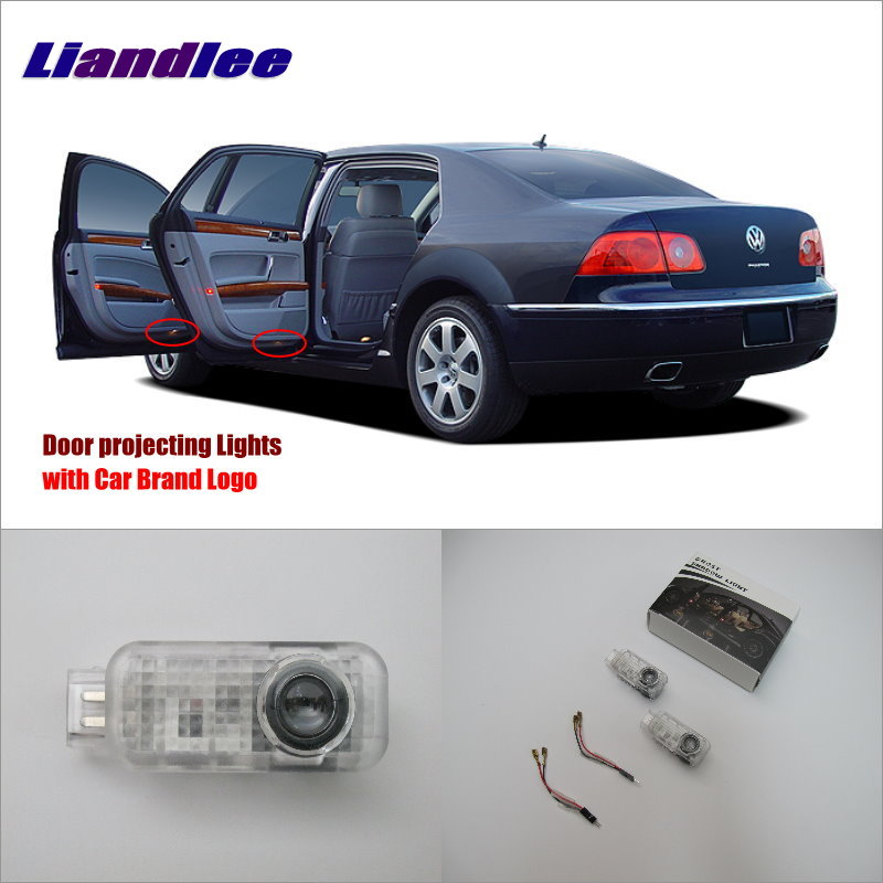Liandlee Car Door Ghost Shadow Lights For VolksWagen VW Phaeton 2005~2012 Courtesy Doors Lamp / LED Projector Welcome Light jingxiangfeng 2 pcs led ghost shadow courtesy welcome light car door projector lamp with logo case for skoda superb 2009 to 2014