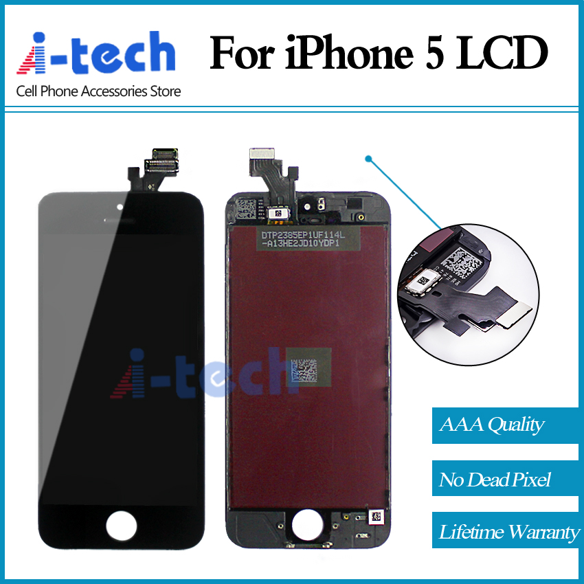 Prix pour Garantie AAA + + + 10 PCS/LOT Pour iphone 5 5g LCD Avec Écran Tactile Digitizer Assemblée Affichage Remplacement Livraison Gratuite