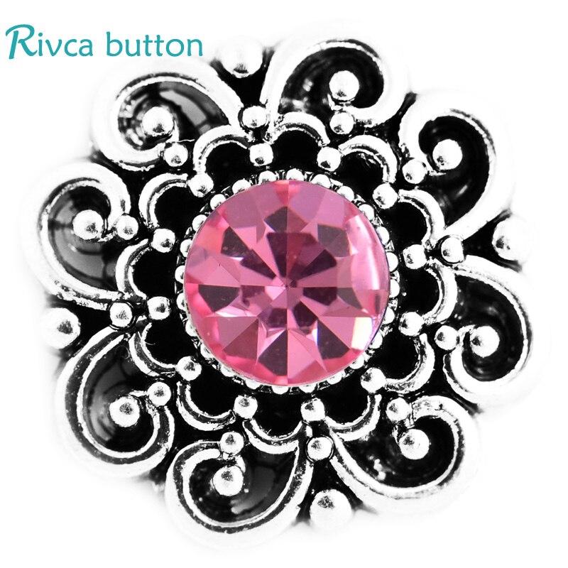 Rivca кнопки изделия самое новое прибытие DIY 18 мм из металла со стразами кнопки шарма черный Кожаные браслеты для Для женщин d03409