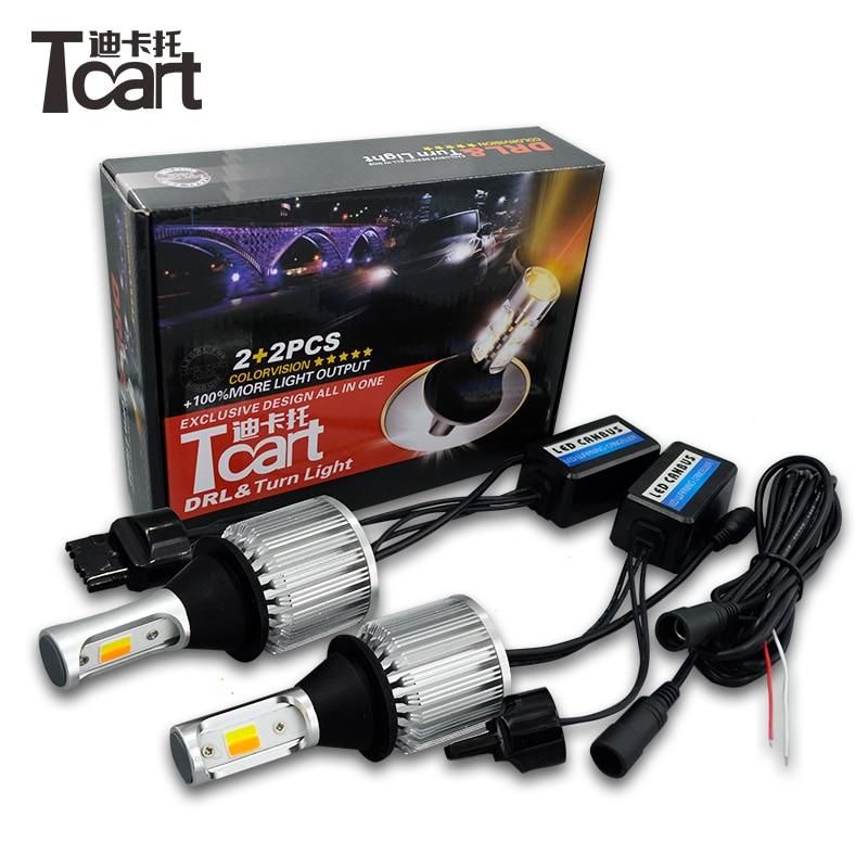 Tcart 2pcs High Power COB font b Lamps b font Car LED DRL Daytime Running Lights