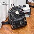 2017 Fashion Women Leather Backpack Feminine Star Printing Backpacks For Teenage Girls Vintage Stylish School Bags Female
