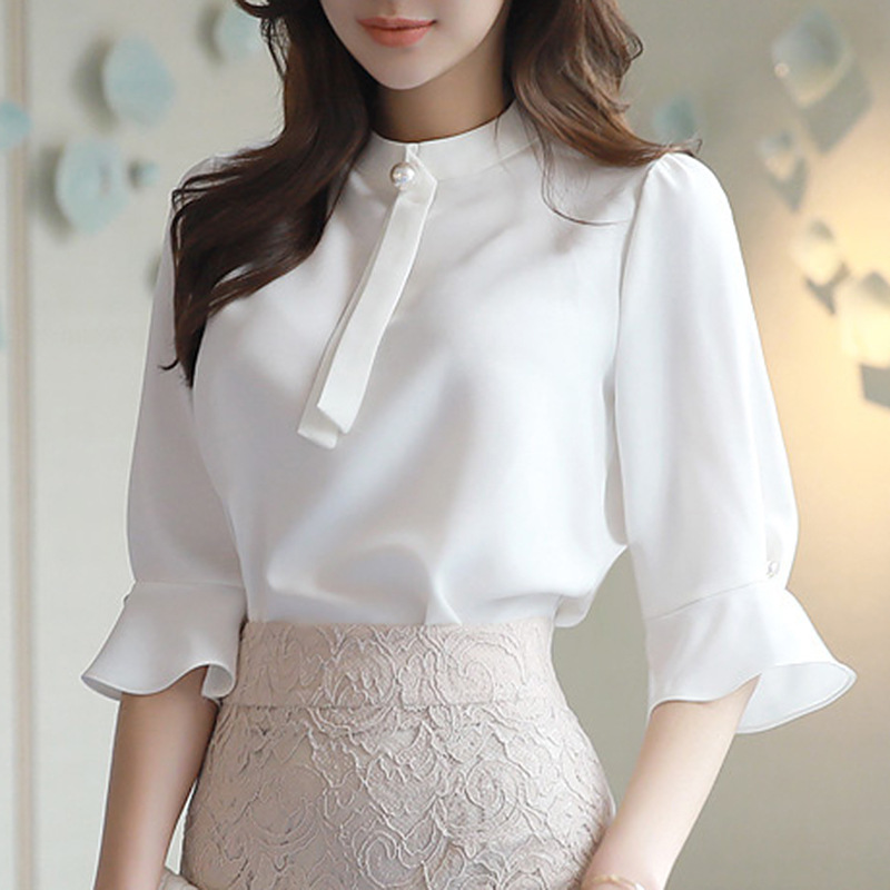Chiffon White Shirt Women Blouse OL Office Ladies Three Quarter Sleeve Blusas Female Tops 2018 Women Clothes RWS175040