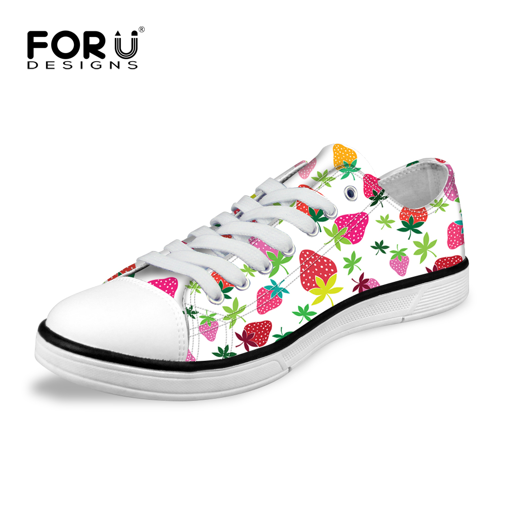 FORUDESIGNS Fashion Women Casual Flat Shoes,Summer White Canvas Shoes for Woman,Fruit Print Ladies Big Flats Shoes High Quality sweet women high quality bowtie pointed toe flock flat shoes women casual summer ladies slip on casual zapatos mujer bt123