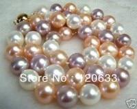 Novo Estilo de Moda diy 12mm multicolor mar do sul da shell colar de pérolas Barato colares de Jóias de prata para as mulheres-jóias