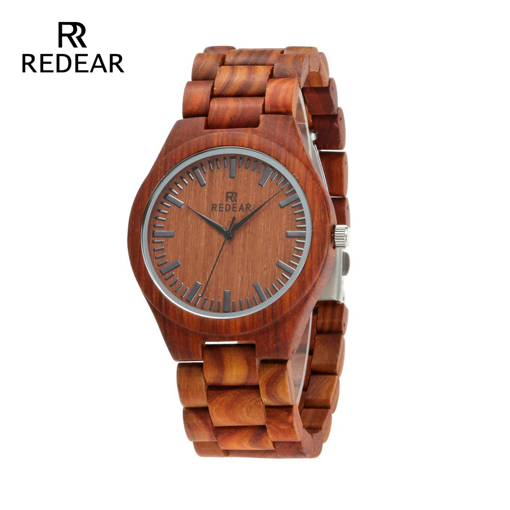REDEAR Mens Trä Klockor Full Red Wood Band Fashion Brand Design - Damklockor