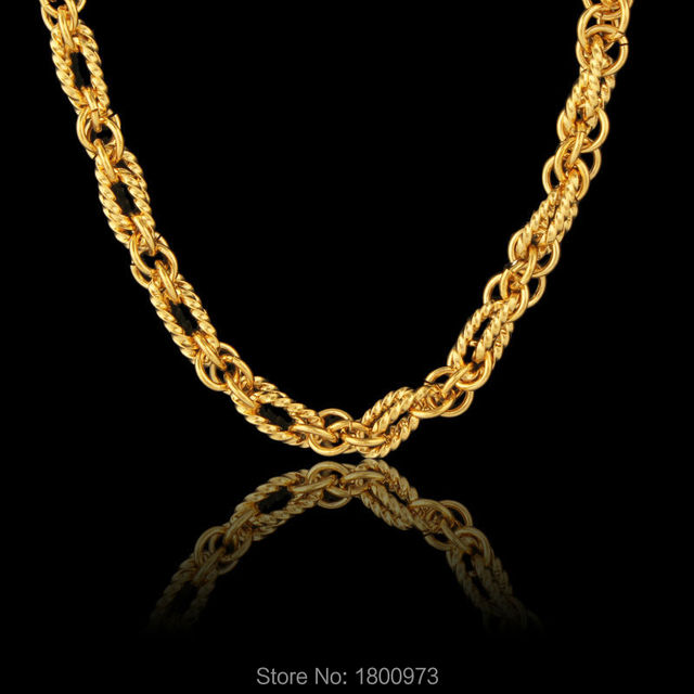 New unique desigh heavy exquisite pattern chain for women gold necklace fashion jewelry african/kenya/usa style
