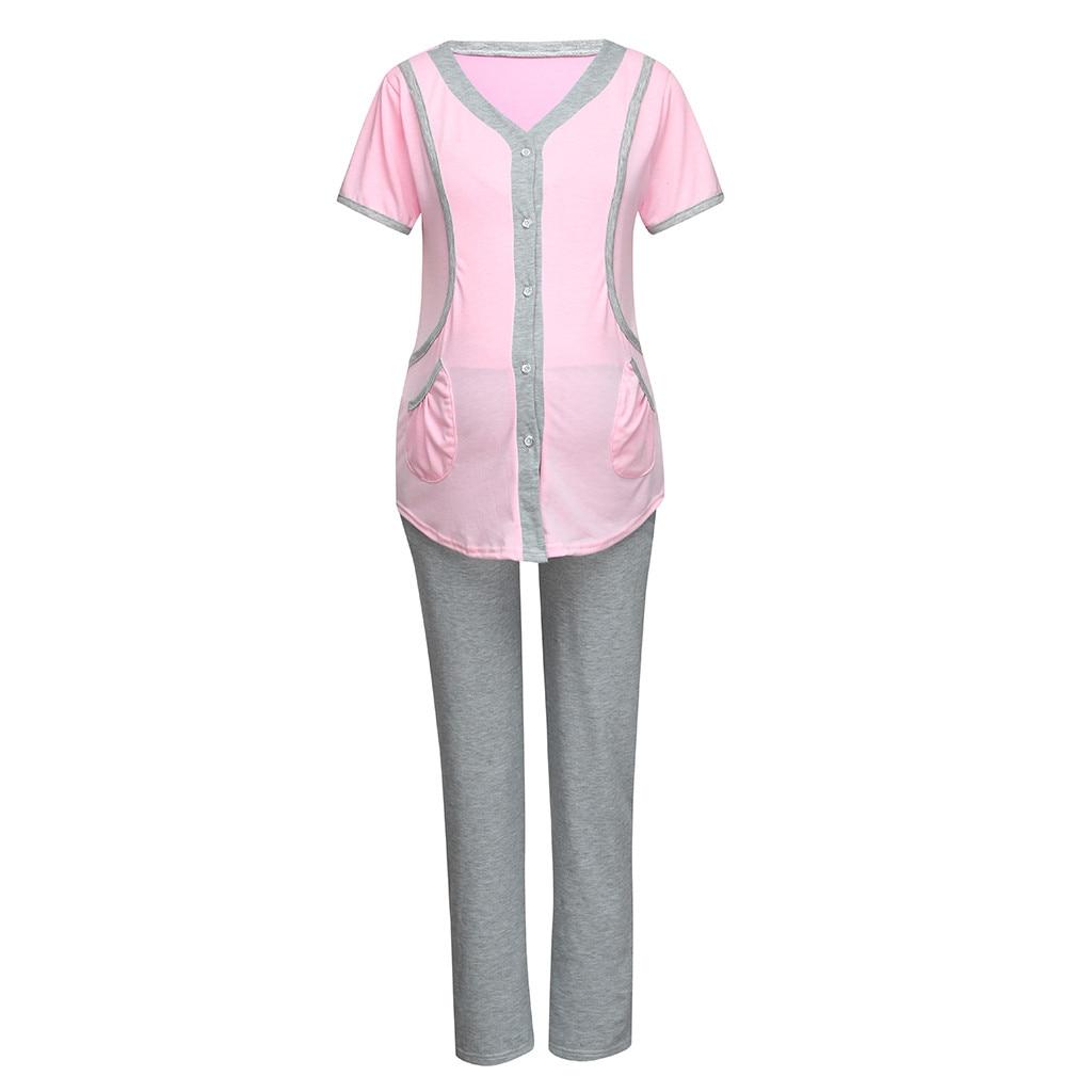 1b6c04412e7  BIG SALE  CHEAP Pflege Pyjamas Set Frauen Sommer für Stillen Taste Tops  Nachtwäsche Vetement Allaitement Mutterschaft Schwangerschaft Kleidung  19A12 ...