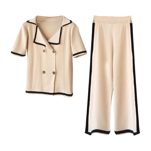 Amolapha Women Knit Buttons Tops Loose Pants Sets Turn down Collar Double Breasted Tops Wide Leg