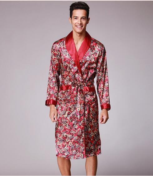 40065473c198 Весна осень Новинка осени роскошные печати шелковый халат мужской Халат  мужские кимоно Ванна платье шелковые мужские халаты купить на AliExpress