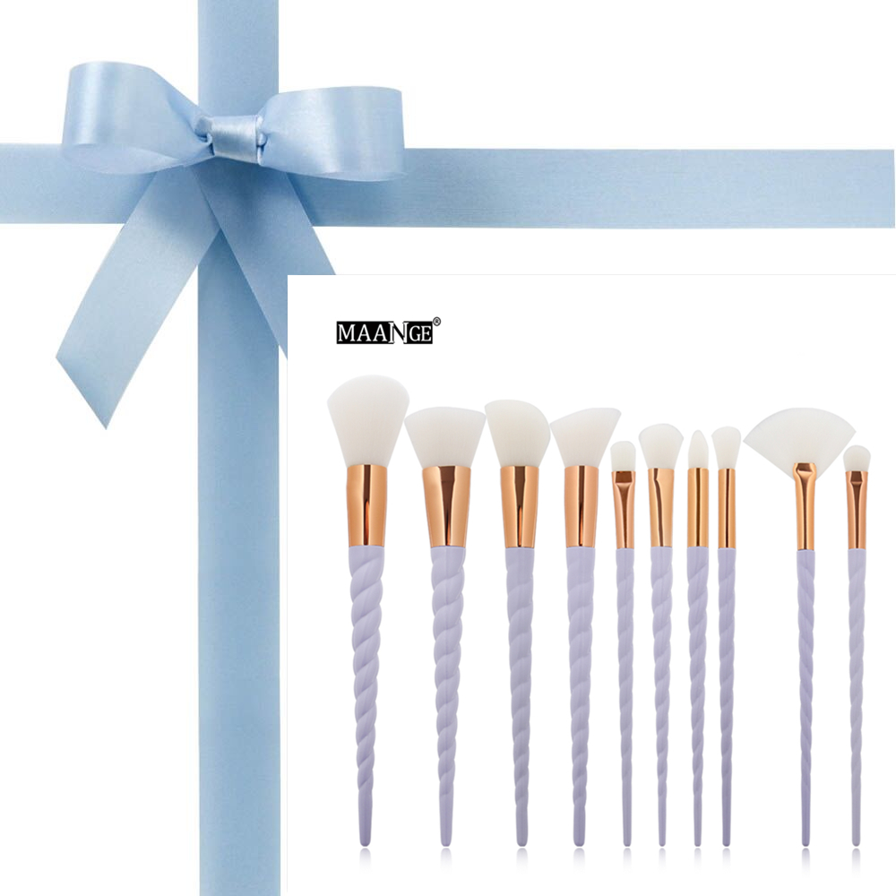 10pcs/set Thread Rainbow Handle Unicorn Makeup brushes Beauty Cosmetics Foundati