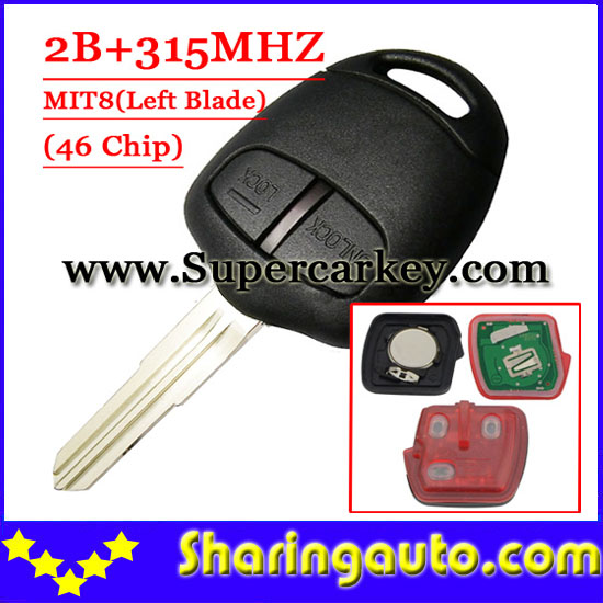 Free shipping (1piece) 2 Button Remote Key MIT8 uncut blade with 46 chip 315MHZ For Mitsubishi free shipping 2 button remote key hu87 blade with id46 chip 433mhz for suzuki swift yy 1piece