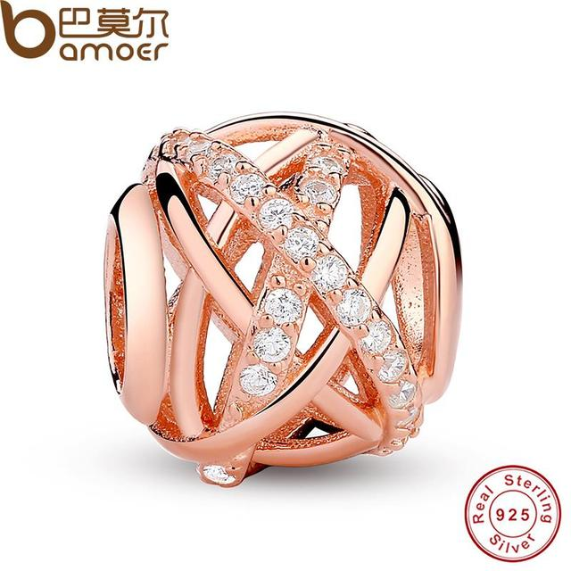 Original  Gold Color Galaxy, Rose & Clear CZ Bead 925 Sterling Silver Charm Fit  Bracelet Jewelry Making PAS120
