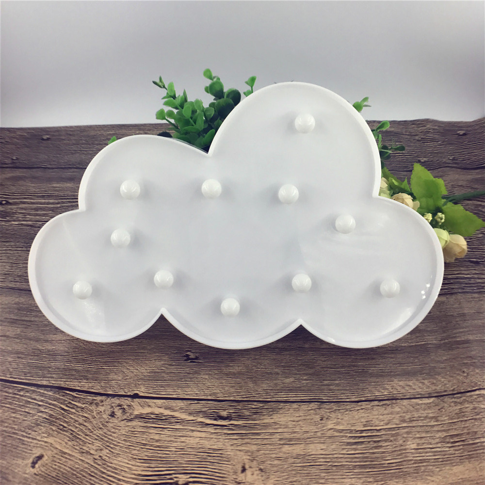 LED 3D Cloud Marquee Nattlampa WALL Batteri Operatör Flamingo Beast Head Stjärnor ABS Skrivbordslampa För Kid Party Bedroom Decor
