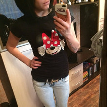 T-Shirts Women Short Sleeve Mouse Print