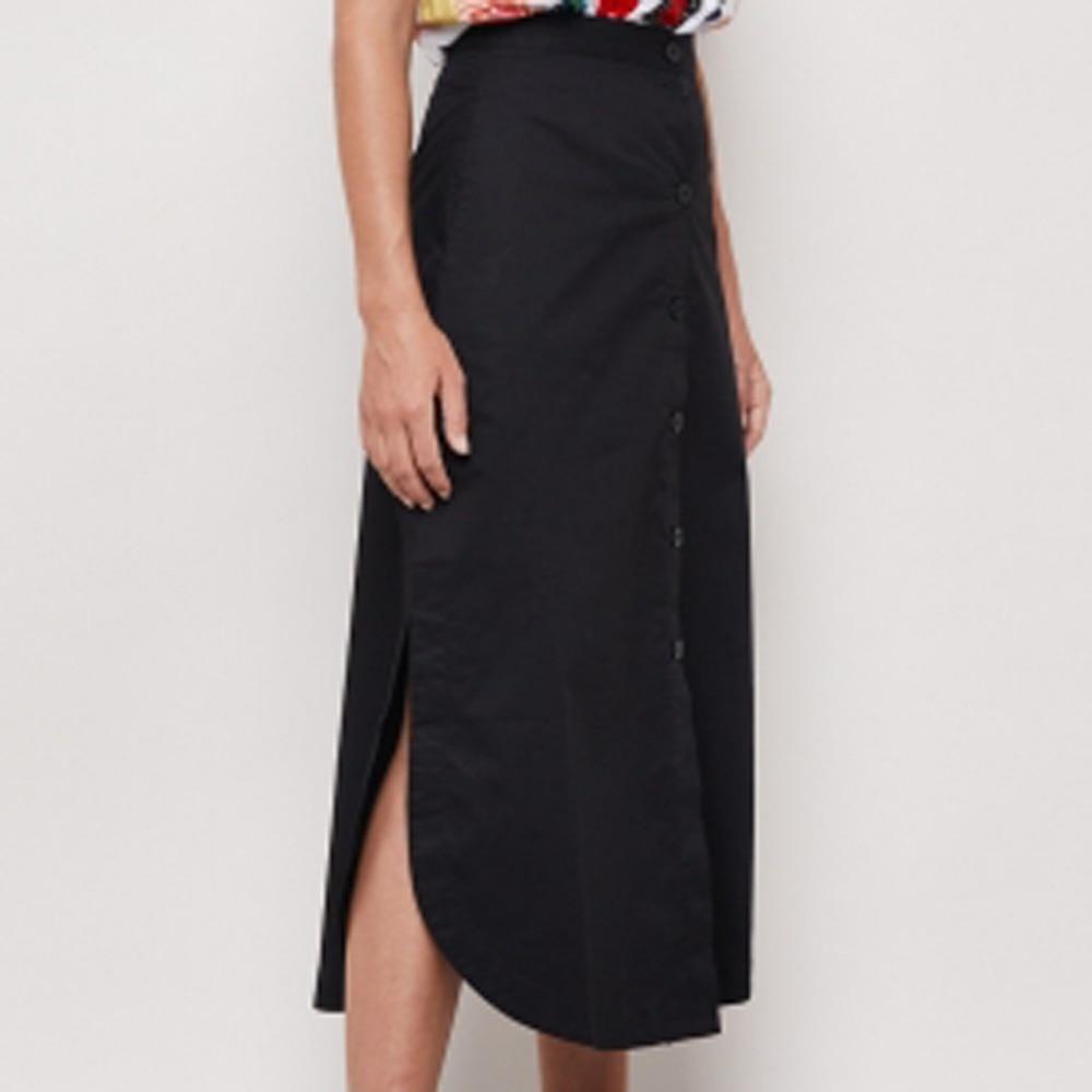 Fashion Ol Women's A Line Pack Hip Split High Waist Button Skirts Black Color