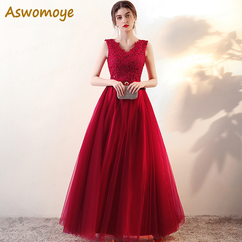 Elegant A-Line   Evening     Dresses   Long 2018 New Sexy V-Neck Appliques Crystal Prom Party   Dress   vestido de festa robe de soiree long
