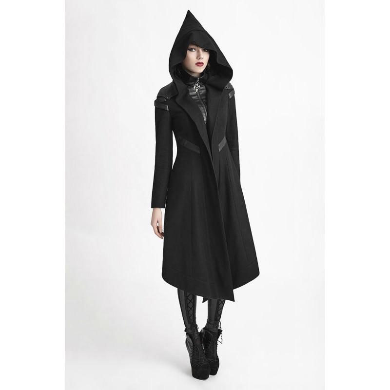 Панк Rave Для женщин пальто с капюшоном черный гот Косплэй Cyber стимпанк ведьмы длинная куртка Y611 размеры S, M, l