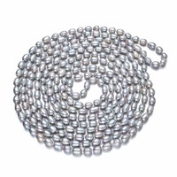 SNH Grey Color 100inches Long Natural Pearl Necklace For Women 7 8mm Cultured Freshwater Rice Pearls