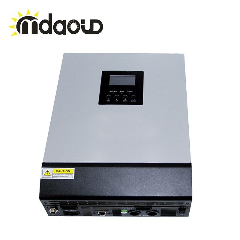 Mppt hors réseau hybride solaire onduleur 3kva 60A 2400 w DC 24 v à 220 v avec solaire contrôleur de charge