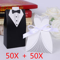 100pcs   Bridal Gift Cases Groom Tuxedo Dress Gown Ribbon Wedding Favor Candy Box