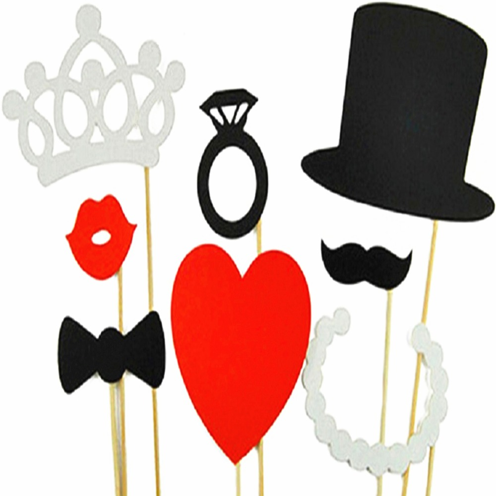 Wedding Party Decoration 8pcs Diy Photo Booth Props Hat Crown Mustache Lip Ring Heart Crown Party