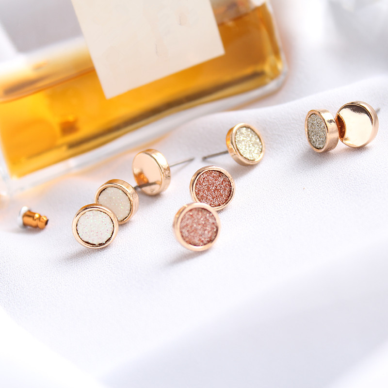 wing yuk tak 4 Pairs/Set Round Small Stud Earrings For Women Fashion Classic Boho Gold Color Earrings Set Cheap Jewelry 27