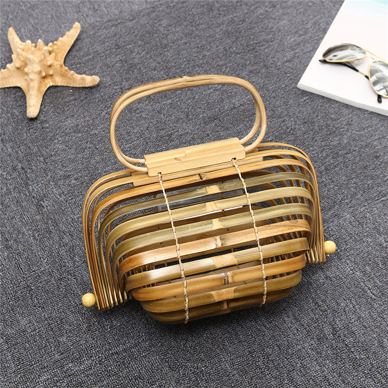 все цены на Osmond Luxury Foldable Bag Female Bamboo Basket Bag Summer Hollow Out Beach Bags Women Handbag Handle Straw Bags Ladies Totes