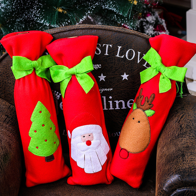 haochu 2pcs christmas bottle cover hat red wine favors gift bag ribbon xmas decorations restaurant home hotel supplies pocket in christmas hats from home