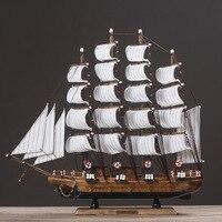 Big Sailboat Wood Wooden Boats Sailing Home Decor White Canvas Carving Gift Crafts Model Retro Vintage Ornaments TTBD31