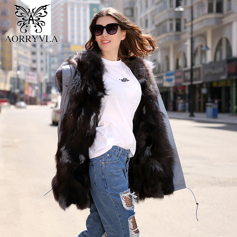 AORRYVLA New Fashion Women Fur Parka Winter 2018 Real Fox Fur Liner Long Coat Large Raccoon Fur Collar Hooded Thick Warm Jacket