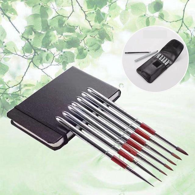 Barteen 7 adet Metal cep kanca hattı suluboya kalem tırnak kalem çizim el hesabı taşınabilir sökülebilir fırça