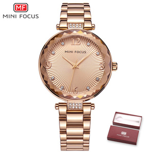 Image 5 - MINI FOCUS Vrouwen Crystal Gold Horloges Dames Beroemde Top Merk Luxe Quartz Horloge Vrouwelijke Klok Montre Femme Relogio Feminino