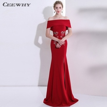 CEEWHY Boat Neck Red Mermaid Dress Party Gown Floral Embroidered Evening  Dress Plus Size Formal Dress 80ea770385e9