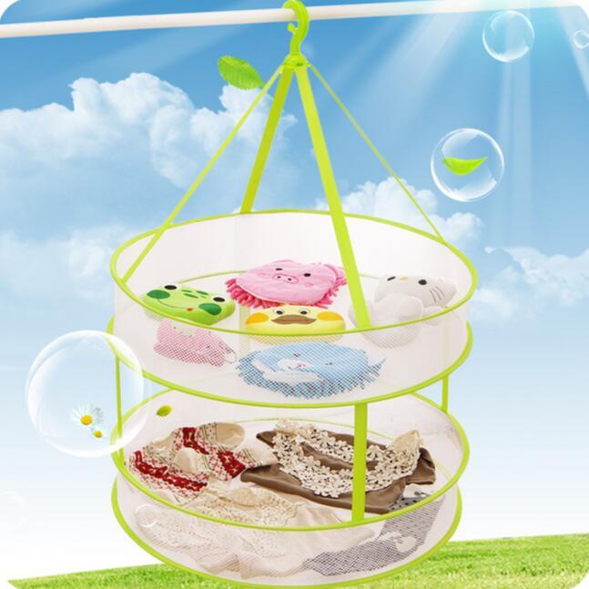 Multifunctional Double Layer Plus Size Folding Windproof Laundry Basket Sweater Drying Basket Clothing Net Bag