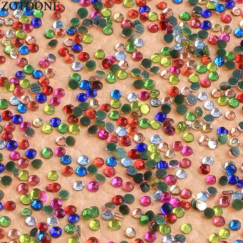 ZOTOONE 2MM תיקונים FlatBack זכוכית לערבב צבע Rhinestones לנייל אמנות אבני בגדי קישוטי Strass Applique E