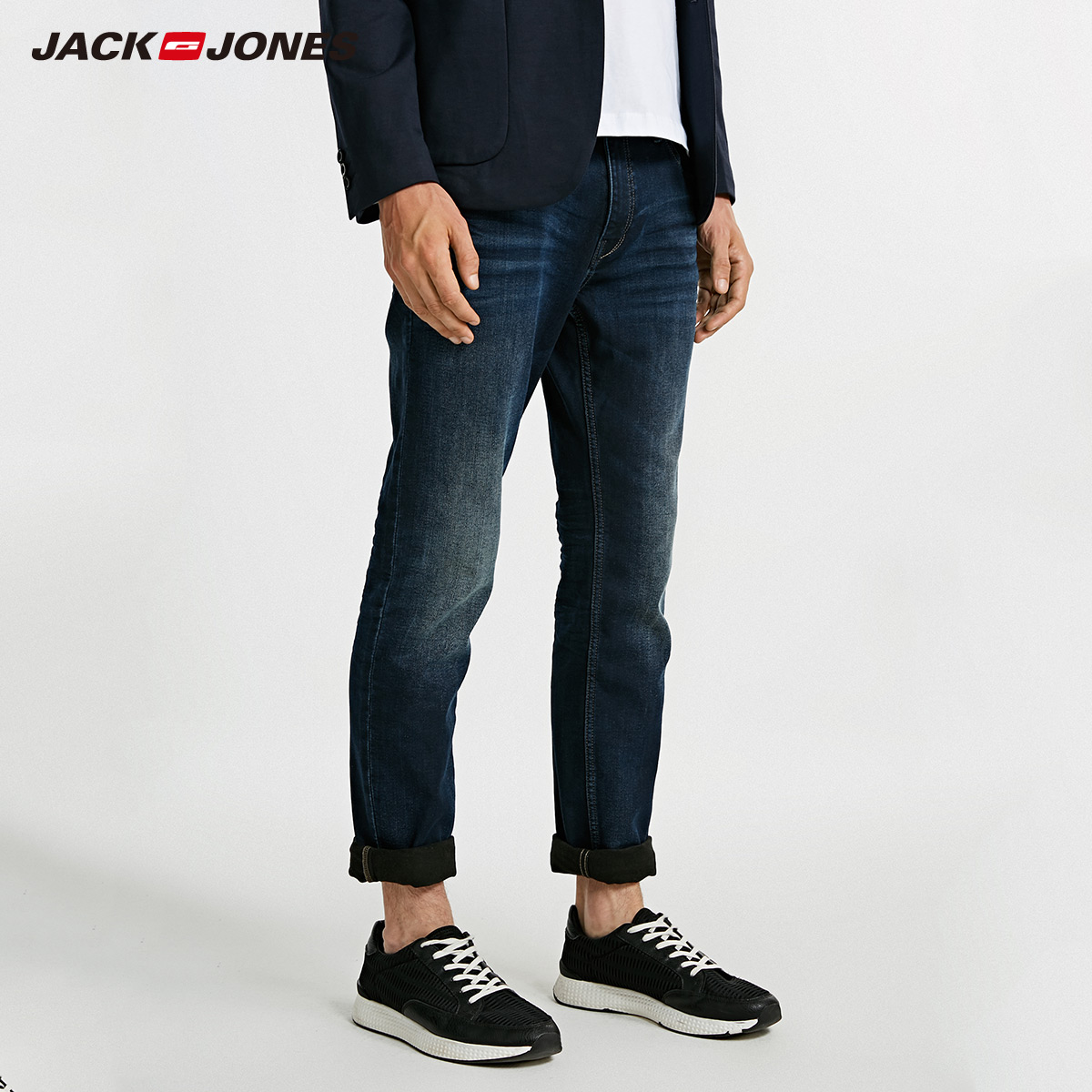 JackJones Men's Winter Cotton Casual Pants Stretch Biker Pants Fashion Classical Denim   Jeans   Men Slim Male   Jeans   J|218332588