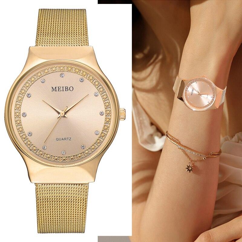Top Brand Ladies Watch Luxury Rose Gold Diamond Women Watches Women Mesh Stainless Steel Quartz Wristwatches Clock