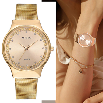 Top Brand Ladies Watch Luxury Rose Gold Diamond Women Watches Women Mesh Stainless Steel Quartz Wristwatches Clock womage origin luxury brand unisex watches rose gold case watch wrist relogios quartz women dress wristwatches day date clock