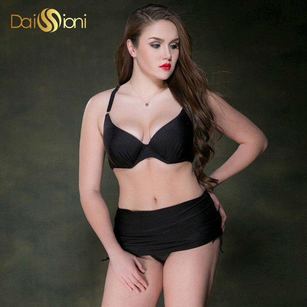 ФОТО 2017 Sexy Summer Dress Bikini Set Solid Black Plus Size Swimwear High Waist Two Piece Swimsuit Push Up Halter Top Bathing Suits