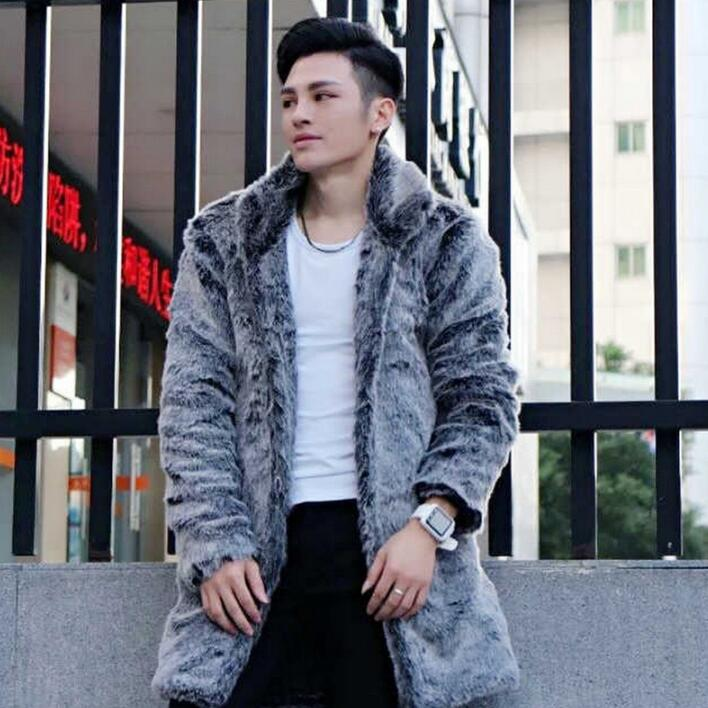 Personalized winter thicken warm mens faux leather jacket mink fur leather coat men slim jackets jaqueta de couro fashion grey