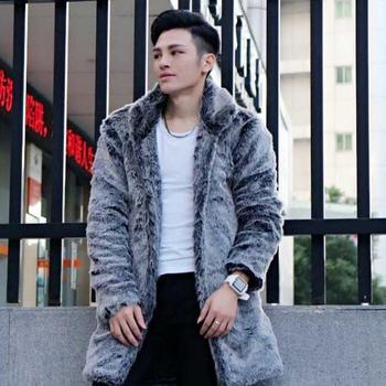 Personalized winter thicken warm mens faux leather jacket mink fur leather coat men slim jackets jaqueta de couro fashion grey