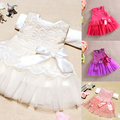 Baby Girls One Piece Formal Dress Lace Flower Bow Bowknot Party Dress Age 0-3Y X16