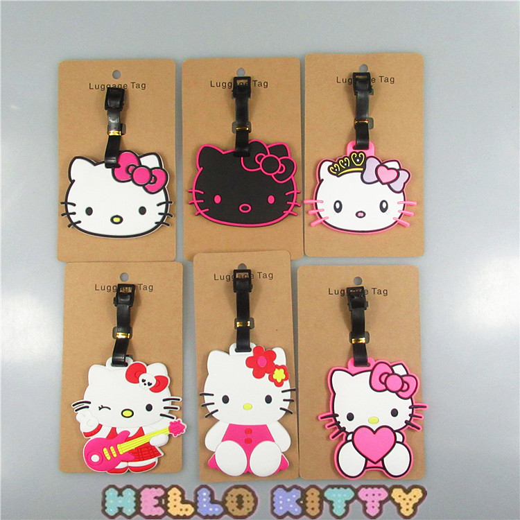 6 Pcs/set Anime Cartoon Hello Kitty 6 Styles Cute luggage tag pendants hang tags checked brand tourist products