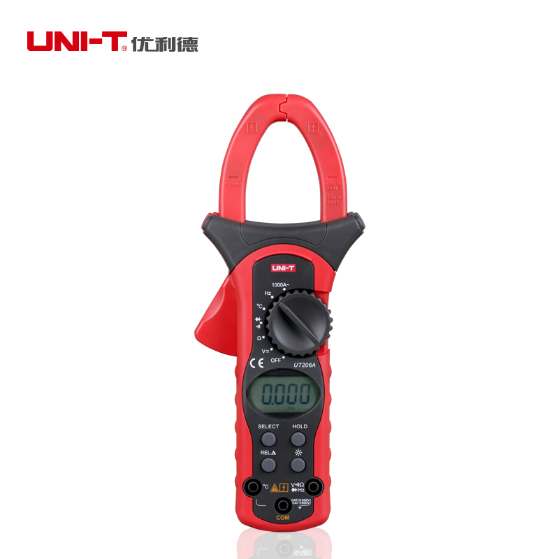 Uni T UT206A 1000A AC Digital Clamp Meter 4000 Count DMM Resistance Frequency Temperature Diode tester LCD Backlight Data holdUni T UT206A 1000A AC Digital Clamp Meter 4000 Count DMM Resistance Frequency Temperature Diode tester LCD Backlight Data hold