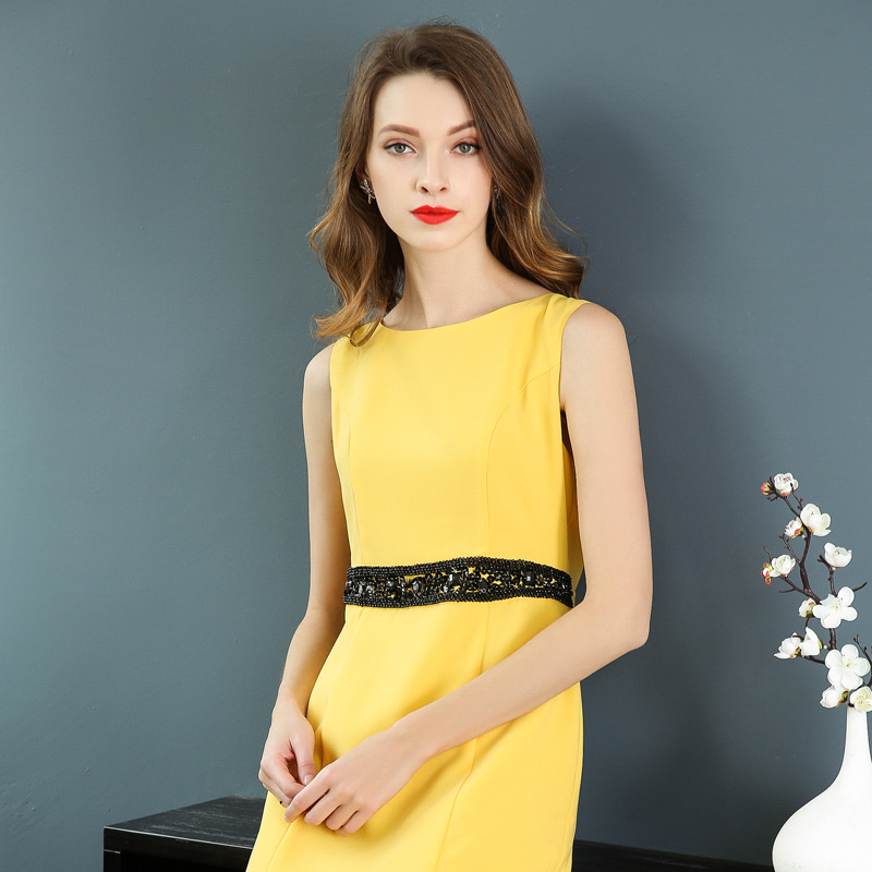 Peplum Women Dress New Office Work Dress 2018 European Style Beaded Sleeveless Yellow Black Dress Cocktail Party Vestido Festa